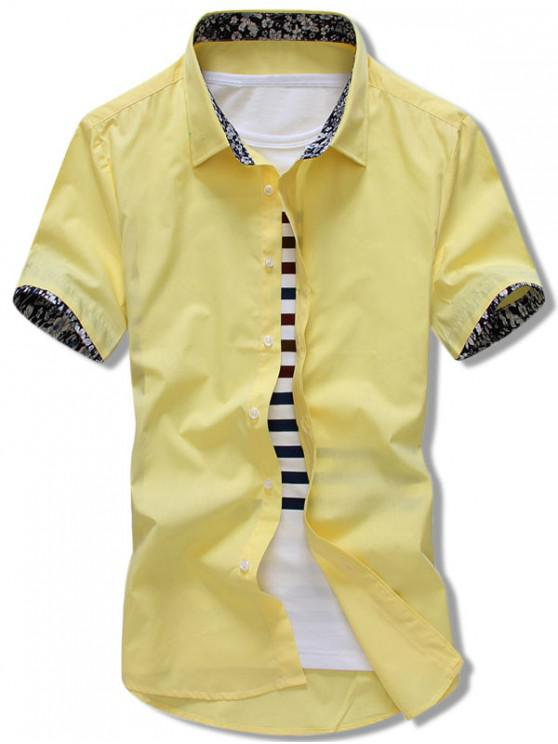trendy Flowers Panel Sleeves Solid Color Shirt - CORN YELLOW L