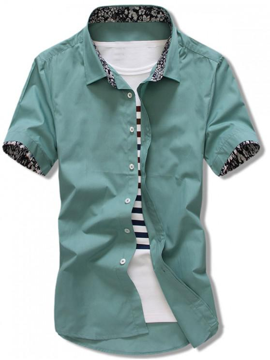 sale Flowers Panel Sleeves Solid Color Shirt - SEA GREEN L