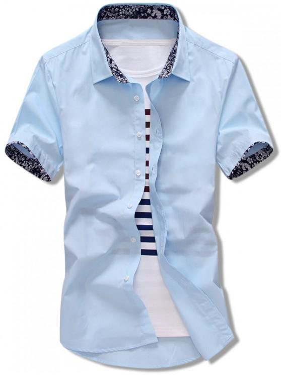 womens Flowers Panel Sleeves Solid Color Shirt - LIGHT BLUE S