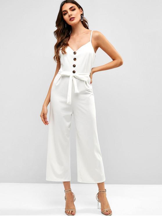 shop Buttoned Wide Leg Jumpsuit - WHITE M
