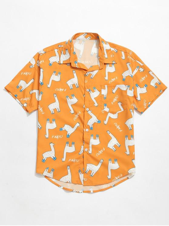 chic Animal Letters Print Casual Shirt - ORANGE GOLD L