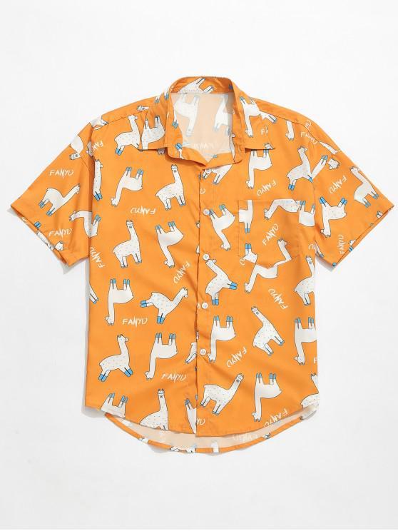 fancy Animal Letters Print Casual Shirt - ORANGE GOLD XL