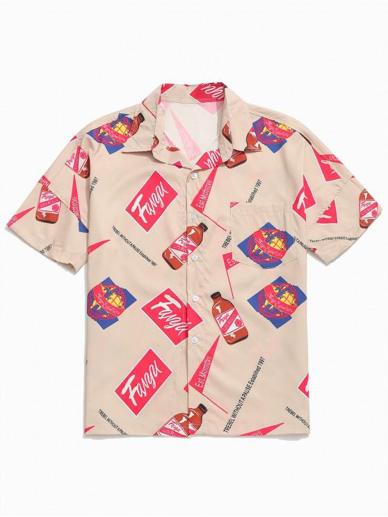 Buchstaben trinken Logo Print Drop Schulter Shirt - Tan L