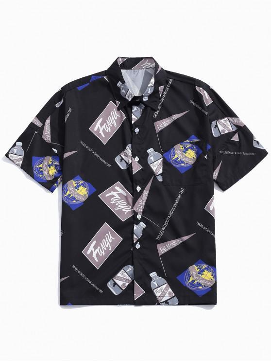 shops Letters Drink Logo Print Drop Shoulder Shirt - BLACK L