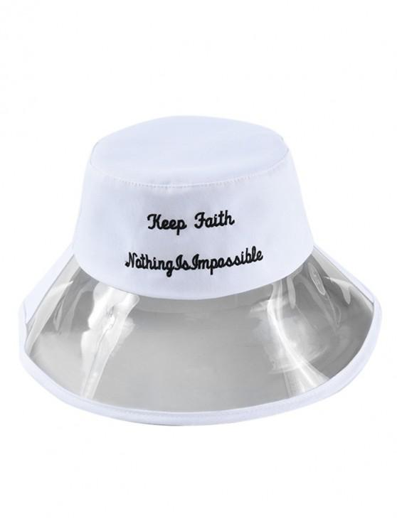 affordable Transparent Letter Embroidery Bucket Hat - WHITE