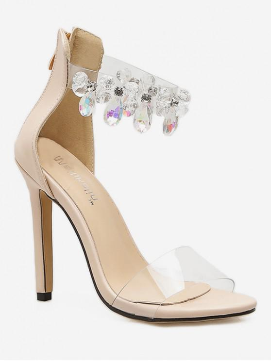 new Teardrop Faux Crystal Clear Heeled Sandals - APRICOT EU 40