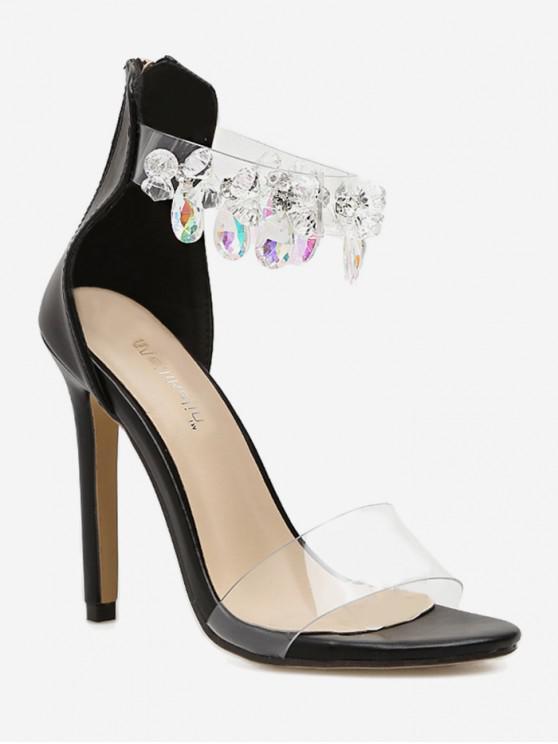 Sandalias de tacón transparentes de cristal de imitación de lágrima - Negro EU 35
