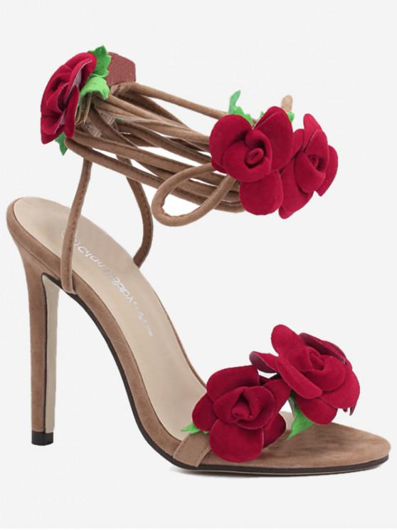 shops Flower Design Ankle Wrap Heeled Sandals - RED EU 38