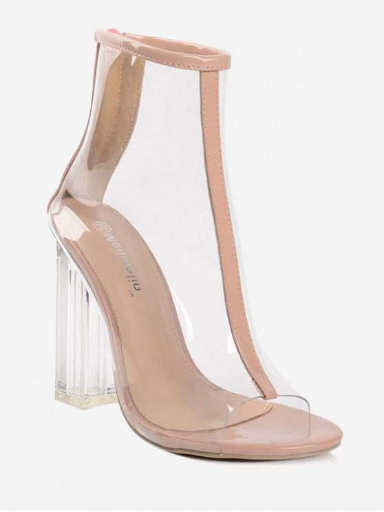 unique Peep Toe Clear Chunky Heel Sandals - APRICOT EU 36