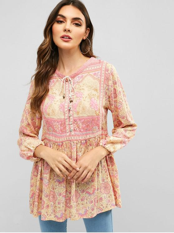 Blusa de Bowtie con estampado floral de medio botón - Rosado L