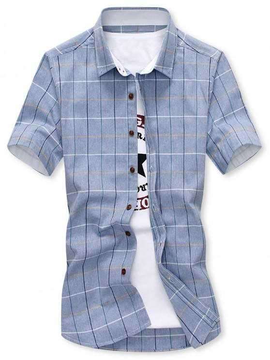 outfits Short Sleeves Plaid Print Slim Fit Shirt - BLUE GRAY L
