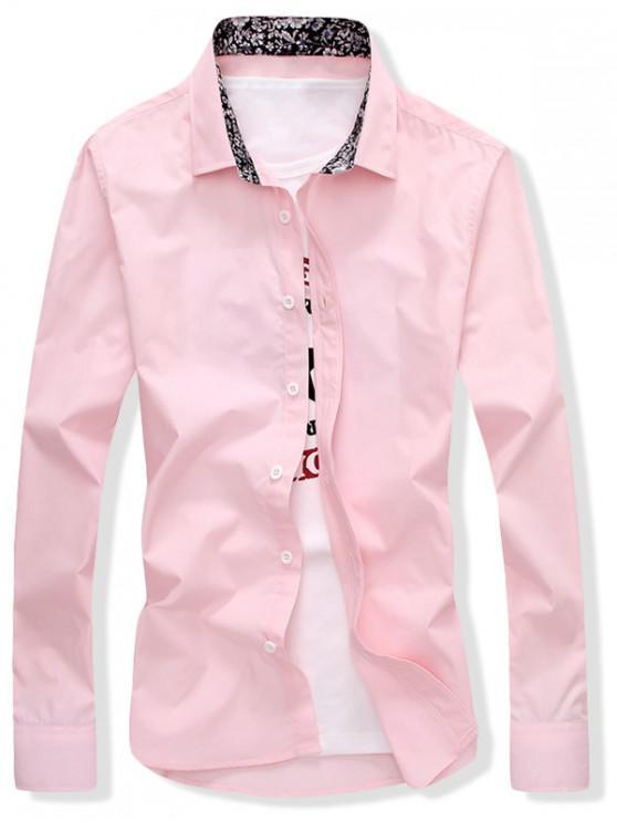 Einfarbiges Hemd mit Schmaler Passform - Rosa S