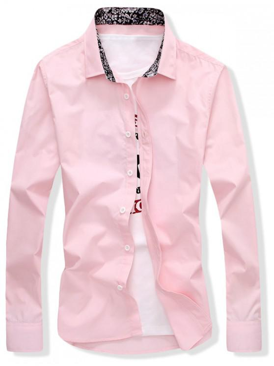 womens Solid Color Button Up Slim Fit Shirt - PINK L
