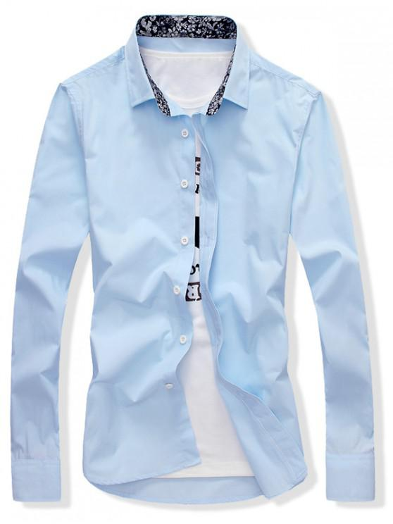 Einfarbiges Hemd mit Schmaler Passform - Helles Blau L