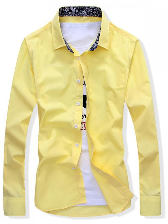 latest Solid Color Button Up Slim Fit Shirt - YELLOW L