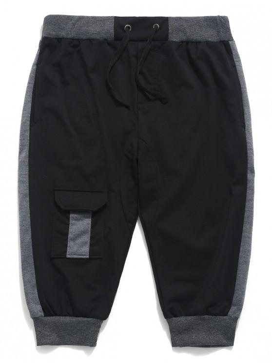 best Color Block Panel Drawstring Jogger Shorts - BLACK XS
