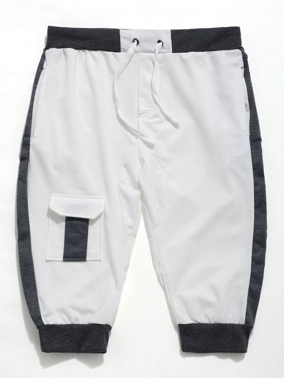 outfits Color Block Panel Drawstring Jogger Shorts - WHITE S