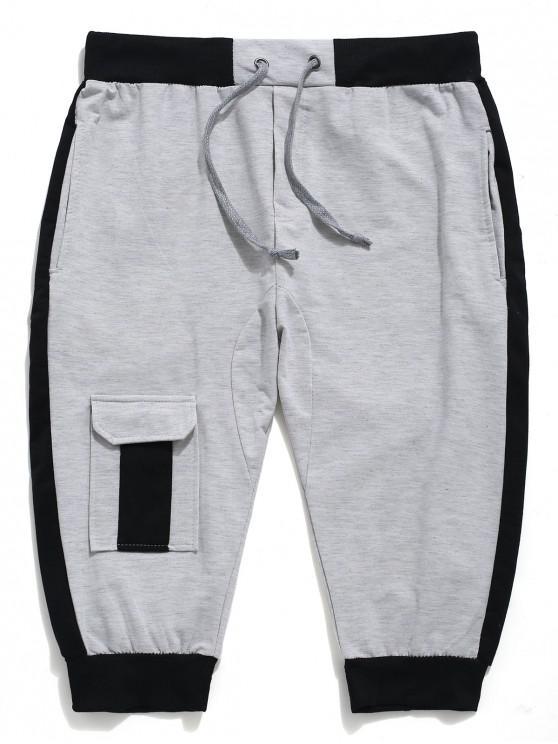 latest Color Block Panel Drawstring Jogger Shorts - GRAY CLOUD XS