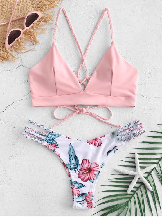 chic ZAFUL Lace-Up Braided Flower Bikini Set - LIGHT PINK L