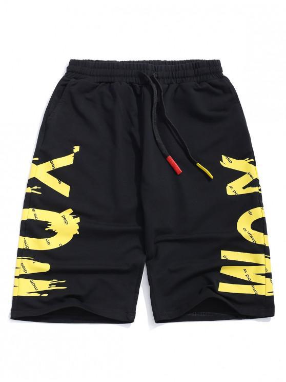 Letras imprimir elásticos pantalones cortos casuales - Caucho Ducky Amarillo XS