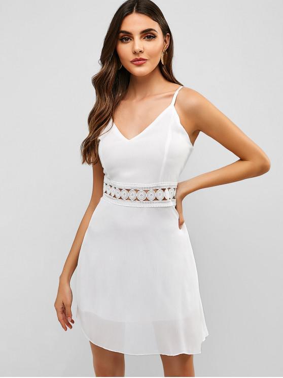 women Back Zipper Crochet Panel Cami Dress - WHITE S