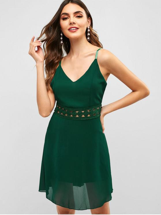 best Back Zipper Crochet Panel Cami Dress - GREEN S