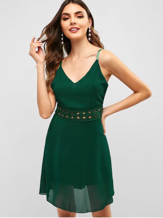 Vestito con Cerniera Indietro con Pannello All'uncinetto - Verde XL