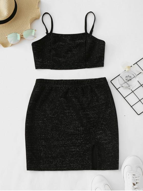 sale ZAFUL Glittery Crop Top and Skirt Matching Set - BLACK S