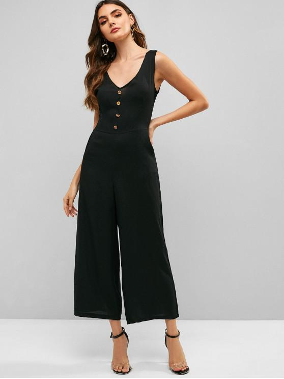 trendy Buttons Sleeveless Wide Leg Jumpsuit - BLACK M
