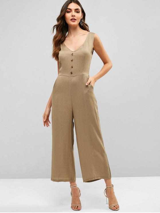 fashion Buttons Sleeveless Wide Leg Jumpsuit - CAMEL BROWN M