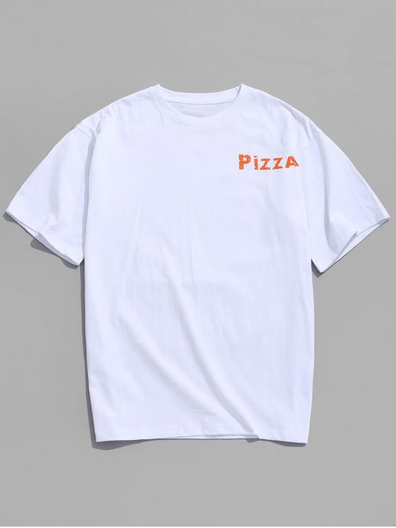 Buchstabe- Zeichnung- Graphikdruck-Lässiges T-Shirt - Weiß M