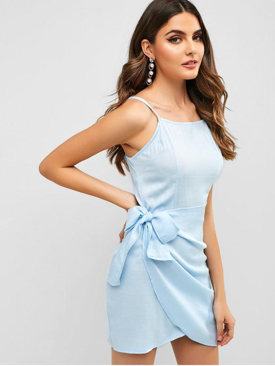 affordable Overlap Knotted Cami Dress - BLUE M