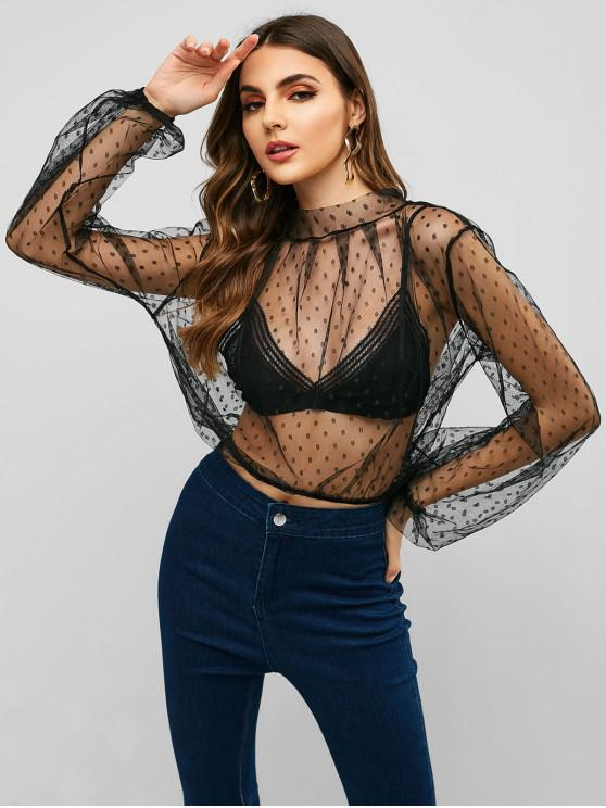 lady Polka Dot Crop Mesh Blouse - BLACK M