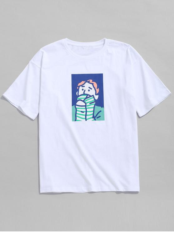 trendy Character Painting Print Casual T-shirt - WHITE XL