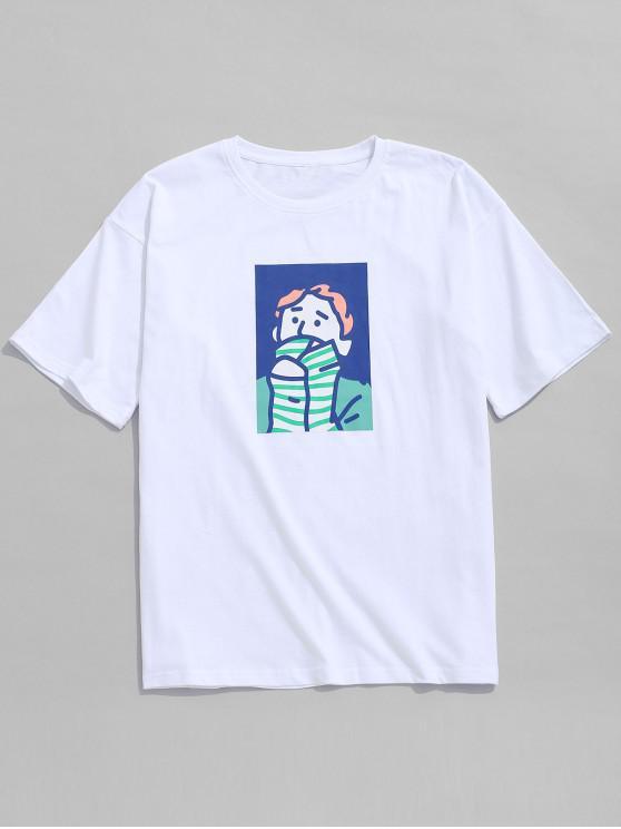 Character Painting Print Lässiges T-Shirt - Weiß 3XL