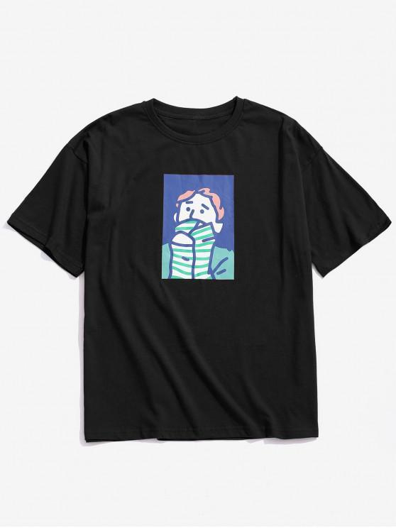 Character Painting Print Lässiges T-Shirt - Schwarz 3XL