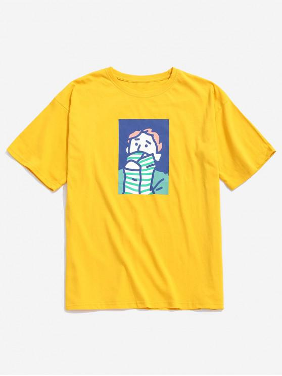 women Character Painting Print Casual T-shirt - BRIGHT YELLOW L