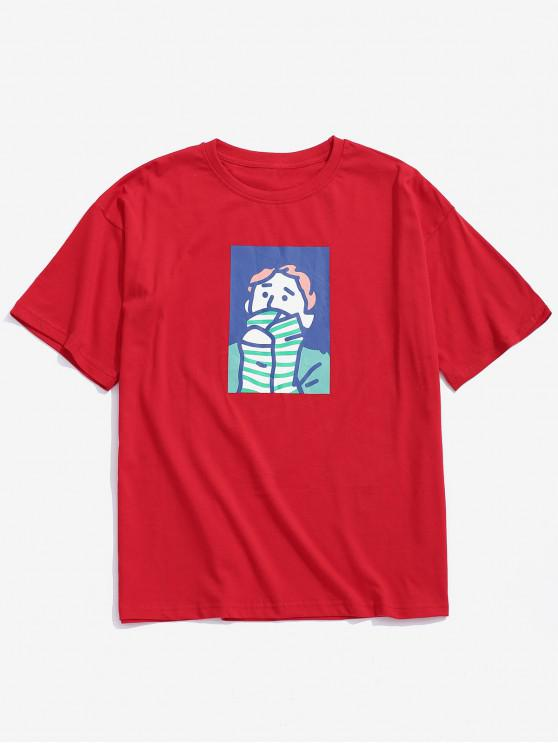 Character Painting Print Lässiges T-Shirt - Roter Wein 2XL