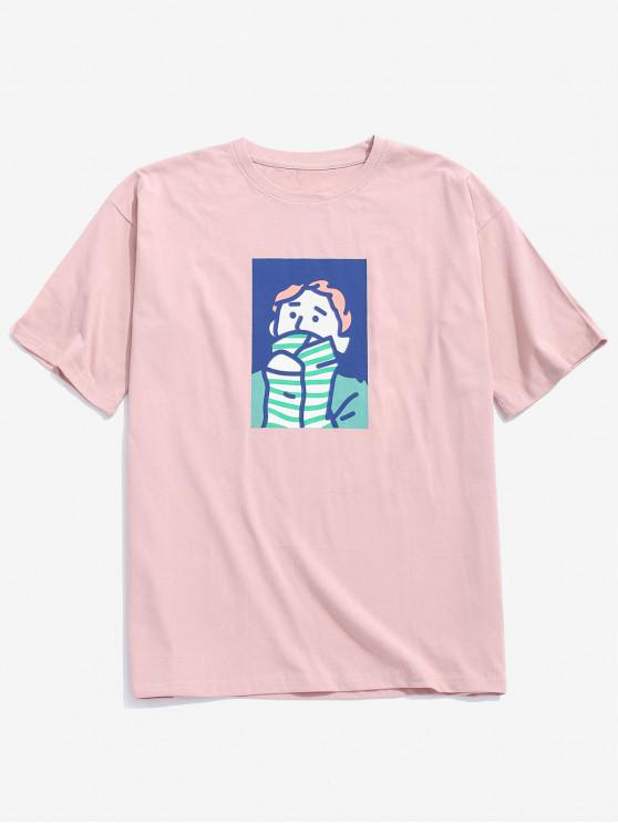 latest Character Painting Print Casual T-shirt - ROSE 2XL