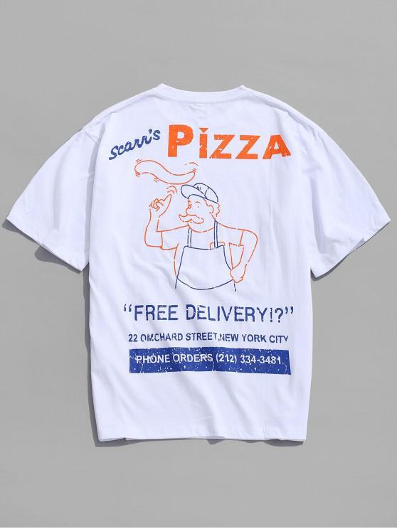 T-shirt Décontracté Lettre Graphique Imprimé - Blanc 3XL