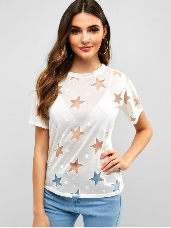 women Mesh Insert Star Graphic Tee - WHITE L