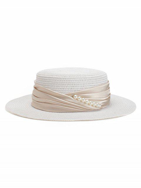 womens Faux Pearl Ribbon Straw Top Hat - WHITE  Mobile