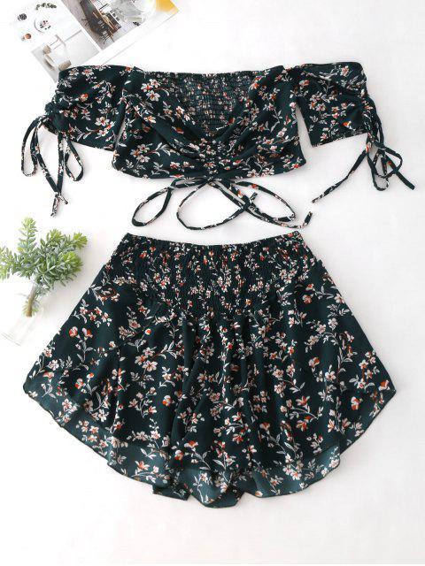 buy Zaful Off Shoulder Cinched Floral Set - MEDIUM SEA GREEN XL Mobile