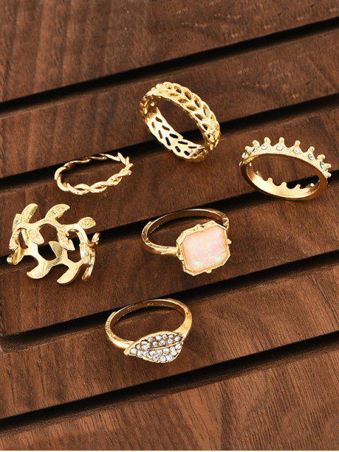 unique 6Pcs Leaf Crown Square Rings Set - GOLD  Mobile