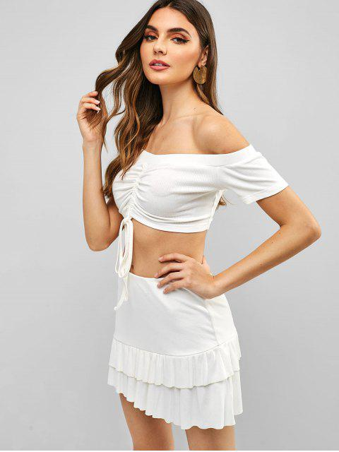 chic ZAFUL Cinched Off Shoulder Top and Skirt Set - WHITE S Mobile