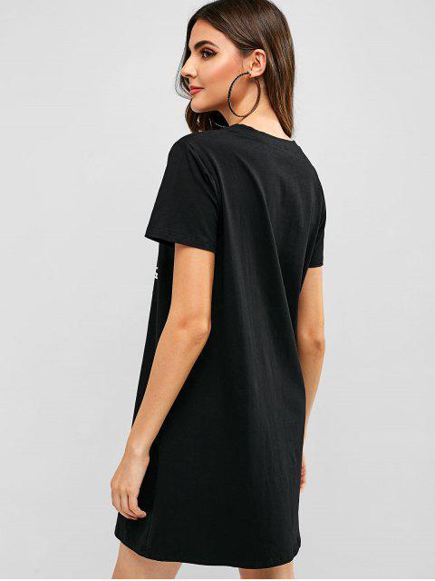 ZAFUL Robe Chemise Décontractée Graphique - Noir M Mobile