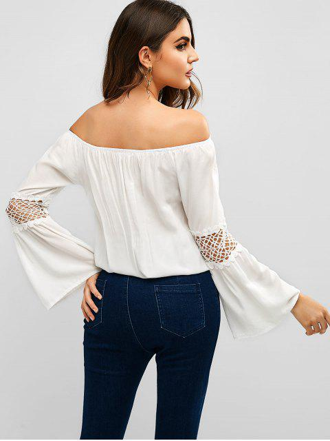 unique Crochet Panel Off Shoulder Blouse - WHITE L Mobile