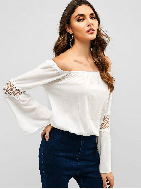 outfit Crochet Panel Off Shoulder Blouse - WHITE S Mobile