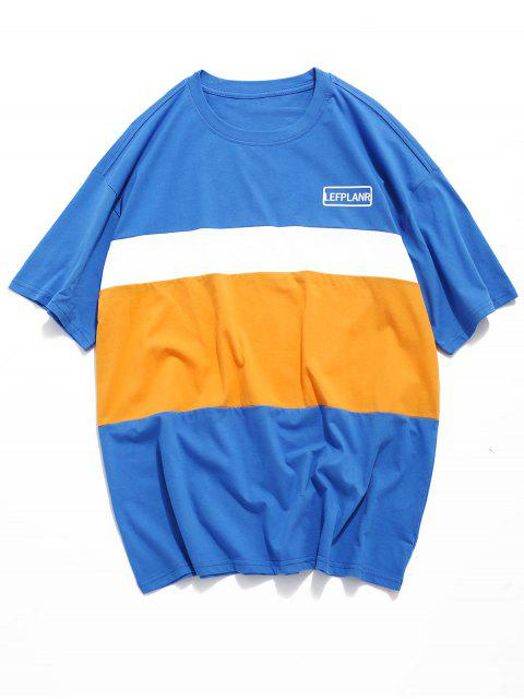 Camiseta de manga corta color Splicing Block - Azul de Arándanos XL Mobile