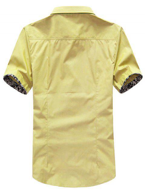 Panel de flores mangas camisa color sólido - Amarillo de Maíz S Mobile